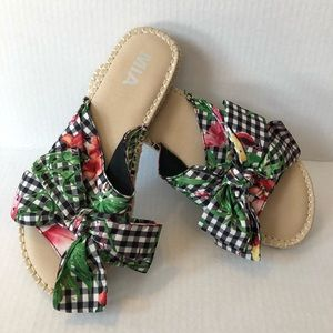 MIA Gingham and Floral Espadrille Slides